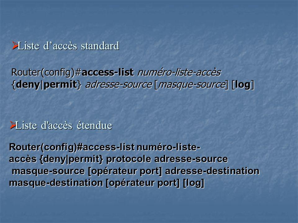 Liste d'accès standard Router(config)#access-list numéro-liste-accès {deny|permit} adresse-source [masque-source] [log]